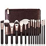 Schwarz Roségold 15 Make-up Pinsel Set + Tasche