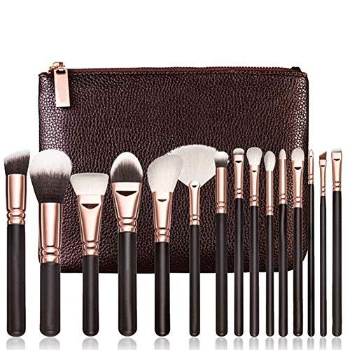 Schwarz Roségold 15 Make-up Pinsel Set + Tasche -