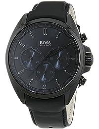 Hugo Boss Hb1513061–Orologio da uomo, al quarzo, cronografo, quadrante nero, cinturino in pelle, colore: nero
