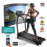 YM Fitness Cinta de Correr Plegable de Alta-Velocidad Kick Silenciosa | 10 Km/h + 3 Inclinación | Consola Digital | App + Altavoces Bluetooth + Sensores de Frecuencia Cardíaca