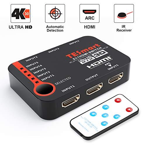TESmart 5x1 HDMI Switch 5 entrées 1 Sortie, Commutateur HDMI Intelligent à 5 Ports, Répartiteur,...