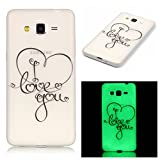 Samsung Galaxy Grand Prime G530 Case,[with Free Black Kickstand] Keyye [Creative Luminous Durable] Silicone Case,Watercolor Printing Pattern [Anti-dust] Slim Soft gel TPU Scrub Transparent Protective Skin Fluorescent Green Effect Night Glow in the Dark Portable Cover for Samsung Galaxy Grand Prime G530-Love You