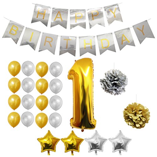 Luftballons u. Dekoration zum 1. Geburtstag von Belle Vous - 24-tlg. Set - Großer 1 Jahr Folienballon - 30,5cm Gold u. Silberne Dekorative Latex-Ballons - Dekor für Kleinkinder (Geburtstag Luftballon Lieferung)
