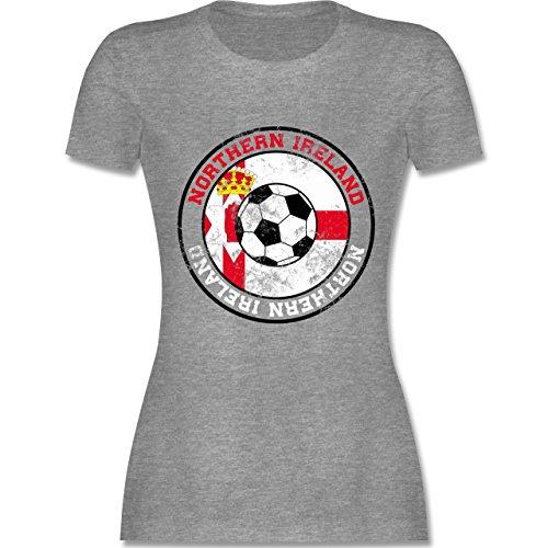 EM 2016 - Frankreich - Northern Ireland Kreis & Fußball Vintage - tailliertes Premium T-Shirt mit Rundhalsausschnitt für Damen Grau Meliert