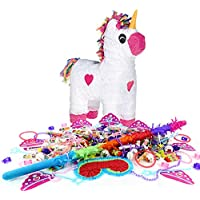 Girls Unicorn Piñata Birthday Party Kit - Sweets Favours Blindfold & Buster