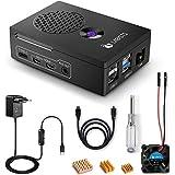 LABISTS Raspberry Pi 4 Custodia, Alimentatore 5.1V3A, Ventola, HDMI, 3 Dissipatori di Calore, Cacciavite Magnetico, Accessori