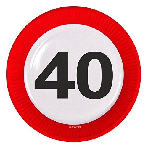 Folat Traffic, Party Geburtstag Teller 23cm (8Stück)-zum 40. Geburtstag (Einladungen Zum Geburtstag 40.)