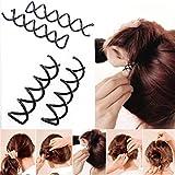 5 piezas/set Negro espiral del Pin de pelo del clip del bollo del palillo de la selección para el estilo de pelo DIY / Liso y construcción compacta de la aleación