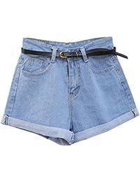 Guiran Donna Pantaloncini di Jeans Denim Shorts Vita Alta Pantaloni Corti  Azzurro Chiaro S 25b23696c5e