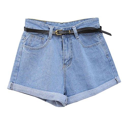 Guiran donna pantaloncini di jeans denim shorts vita alta pantaloni corti azzurro chiaro s