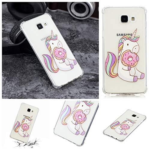 Baiwoda Cover Samsung Galaxy A5 2016 SM-A510F Custodia in Silicone TPU Cover Trasparente Chiaro Morbido Leggero Cover Antiurto AntiGraffio Custodia Protettiva con Design Unico - Ciambella Unicorno
