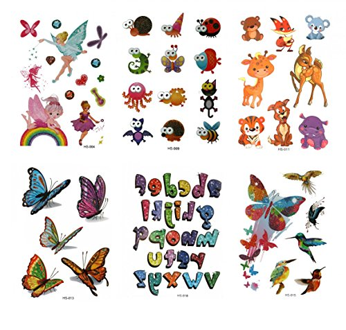 A lunga durata e realistico temp tattoo adesivi 6pcs bambini tatuaggi temporanei in un imballaggio, tra cui farfalle colorate, angeli, bears, giraffe, uccelli ,26inglese lettere, insetti, animali, tigers, cervi, ecc.