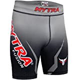 Mytra Fusion Tudo shorts pantaloncini a compressione MMA termici Compression shorts crossfit base Layer running Short Heat Gear Trunks vale Tudo (nero grigio, Small)