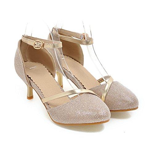 CXQ-Heels QIN&X Frauen Spitzen Zehe Flachen Mund Prom Stiletto High Heels Sandalen Schuhe Pumps, Golden, 39