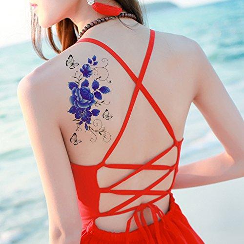 tafly-tatouage-temporaire-bleu-pivoine-fleur-corps-art-butterfly-transfert-autocollant-5-feuilles