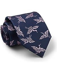 Savile Row Men's Navy Dusty Pink Cranes Pattern Silk Tie