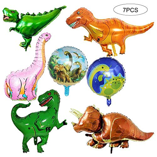 Sungpunet Lot de 7 Ballon géant Foil Dinosaure Jurassic World fête d'anniversaire Fournitures T-Rex Balloon Bouquet Décoration