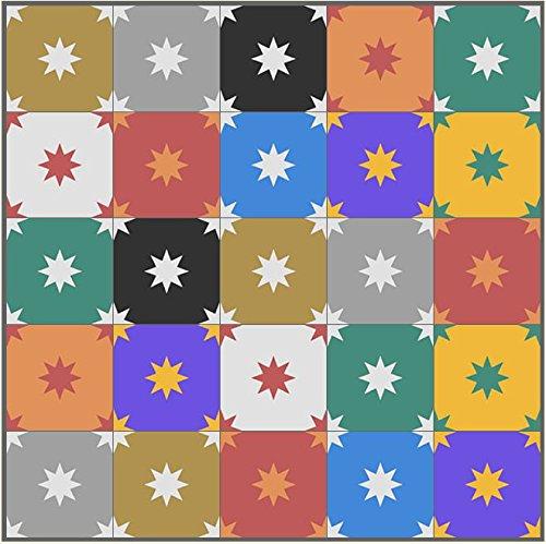 1m² bunte Ornament Zementfliesen Patchwork PW-960 Stern orientalische marokkanische Fliesen