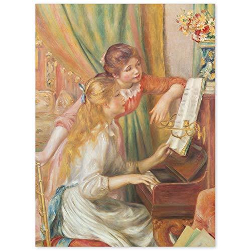 JUNIWORDS Poster, Pierre Auguste Renoir, Junge Mädchen am Klavier, Jeunes filles au piano, 60 x 80 cm