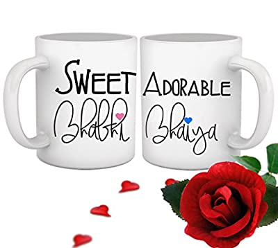 Tied Ribbons Ceramic Bhaiya Bhabhi Printed Coffee Mug with Red Rose, 325 ml, Multicolor