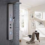 duschpaneele regendusche mit thermostat, 2xMassagedüsen, Wellness Duschsystem Duschsäule Duscharmatur Wasserfall, Edelstahl Duschpaneele Test
