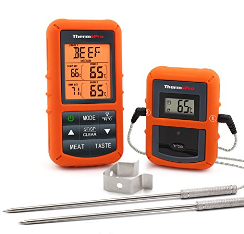 ThemoPro TP20S Wireless Remote Digital Cooking Meat Thermometer with LCD Backlight Display for Kitchen Oven Grill BBQ Roast, 300 Feet Range, Dual Probe