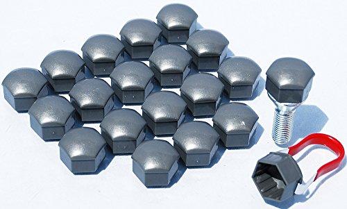 Lot de 20 cache-écrous et cache-boulons gris universels de 17 mm, en alliage