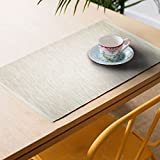 "Lushomes Set Of 6 Ribbed White Cotton Table Mats (Size: 13""x19"")"