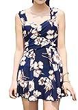 HONFON Damen Blumen Drucken Elegant Übergang Einteiliger Badeanzug Schwimmen Kleid Umsäumt Badeanzug
