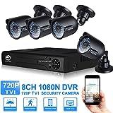 JOOAN 4CH TVI 720P CCTV Kit CCTV-Kameras Überwachungskamera-System mit Gute-Nachtsicht 8 Kanal DVR Recorder mit 3,6 mm-Objektiv wetterfeste Kamera keine Festplatte