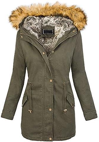 Damen Winter Mantel Teddyfell gefüttert Fellkapuze Winterjacke warm [D-208 Khaki