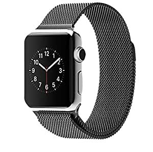 Original Design Magnetic Milanese Loop Watch Band for Apple Watch Strap 38mm Woven Stainless Steel Mesh + Connector Adpater (black 38mm)