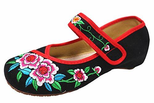 Icegrey Damen Gestickten Blumen Mary Jane Oxford-Schuhe Schwarz 40 (Sportliche Janes Mary)