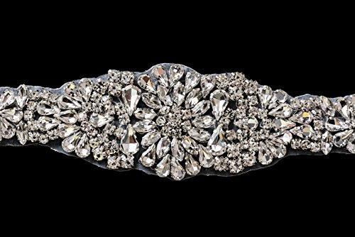 Trimmen Shop Gorgeous Silber Kristalle Strasssteine Motiv Nähen Aufnäher Patch für Hochzeit Brautschmuck Kleid, Casual Oder Formale Fashion Accessoires-35x 5cm-Patch Nr. 221