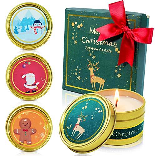 SCENTORINI Duftkerzen in Dose, Weihnachten Geschenk Set Aroma Kerzen aus 100% Sojawachs, Duft von Apfel & Zimt, Lebkuchen, Sherry Brandy, Winter Zedernholz 4 Stück
