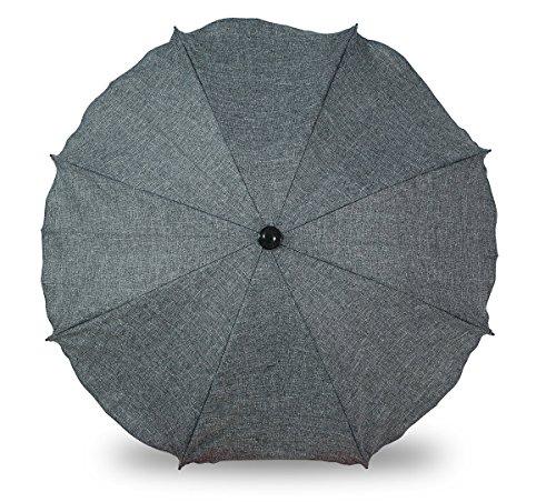 Universal Sonnenschirm Regenschirm für Kinderwagen und Sport Buggy, Babywagen Schirm mit Universal Halterung, UV-Schutz50+ Sonnensegel Sonnenschutz (Grauer Flachs)