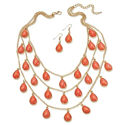 2 Piece Coral Checkerboard-Cut Cabochon Jewelry Set in Yellow Gold