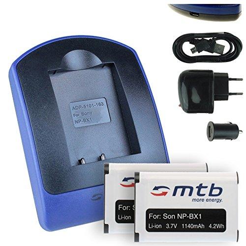 Galleria fotografica 2x Batteria + Caricabatteria (USB/Auto/Corrente) per Sony NP-BX1 / HDR-AS50, AS200V, AS300 / HX400, RX100 (I,II,III,VI,V), WX500 / X1000V, X3000... v. lista