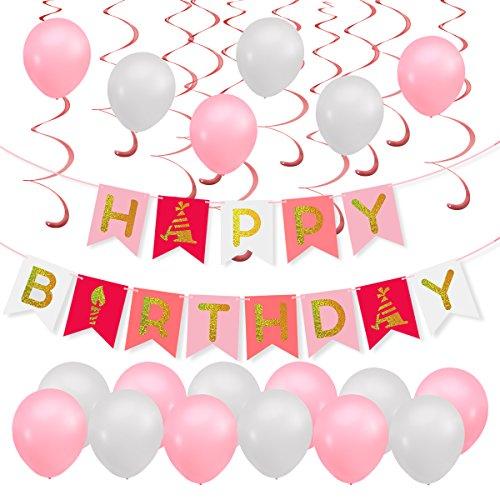 Mädchen Geburtstags-party (PBPBOX Geburtstagsdeko Mädchen Kinder Geburtstag Party Deko, 1 Geburtstag Girlande, 30 Luftballons mit 1 ballonpumpe und 20M pink Band, 12 pink Spirale Girlanden, auch für romantisch Party Hochzeit / Weihnachten.)