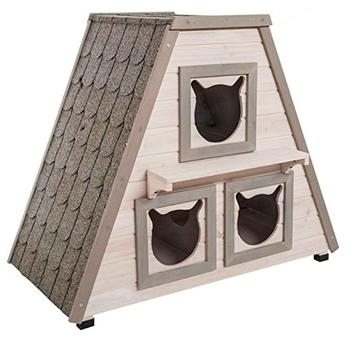 wetterfest Holz Katze Haus–leicht montiert, mit 3separaten Schlafbereichen–bitumen-covered Dach–für Draußen geeignet–Ideal für Ihre Katze außerhalb (Outdoor-möbel Cottage)