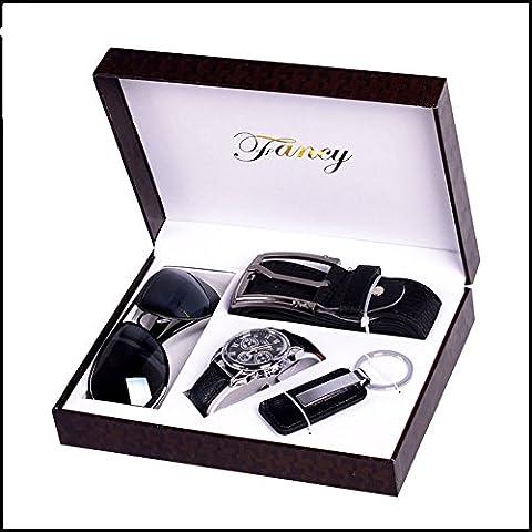 Bstcentelha pour homme cuir synthétique à quartz analogique montre bracelet Ceinture Porte-clés Coffret cadeau Lunettes de soleil Bleu foncé