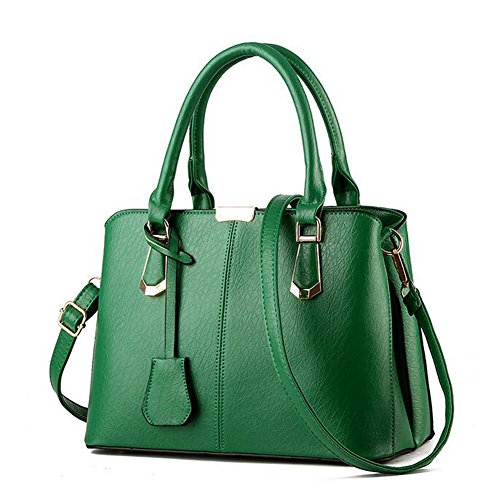 JOMNM Damen Handtasche Tote Mit Schulterriemen PU Leder Taschen Shopper Schultertasche Umhängetasche Taschen Für Frauen. Grün