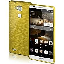 Funda protectora OneFlow para funda Huawei Ascend Mate 7 Carcasa silicona TPU 1,5mm | Accesorios cubierta protección móvil | Funda móvil paragolpes bolso cepillado aluminio diseño en Lime-Green