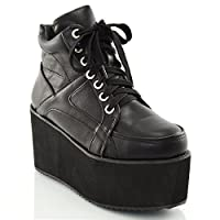 Ladies Chunky Cleated Sole Womens Platform LACE UP Goth Punk Ankle Boots Shoes Size 3 4 5 6 7 8