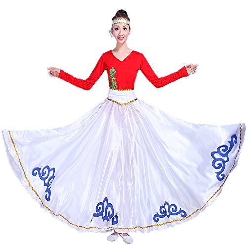 Backgarden Falda de Danza del Vientre Indio Vestido Largo de Fiesta Tribal  Gitano (Blanco) 015e92dbf6b8