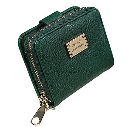 brieftasche damen Kolylong Frauen Kurze Faltbare Brieftasche (Green) (Wallet Vinyl-tri-fold)
