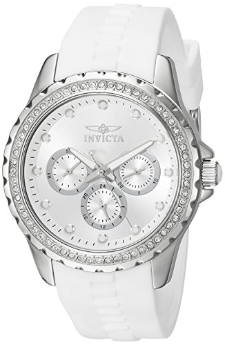 Invicta Women's 'Angel' Quartz Stainless Steel and Polyurethane Dress Watch, Color:White (Model: 21899)