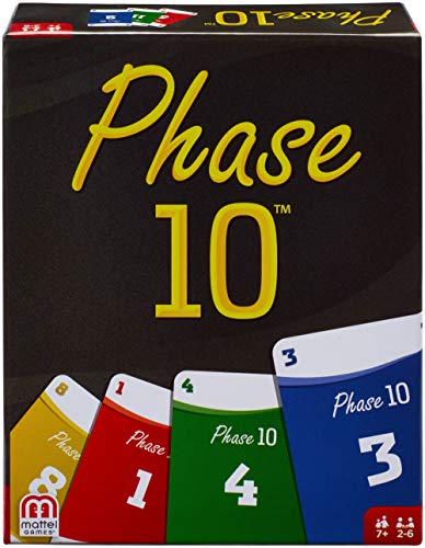 Mattel Games FPW38 - Phase 10 Kartenspiel, geeignet für 2 - 6 Spieler, Spieldauer ca. 60 - 90 Minuten, Gesellschaftsspiele und Kartenspiele ab 7 Jahren Dem 10