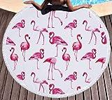 klolkutta rund Strandtuch Quasten, dick Übergroße Flamingo Beach Picknick Decke/Überwurf Bohemian Style Yogamatte, Schwimmen, Schultertuch, Sonnenbad Tabelle, Mikrofaser, Rose Bloom Flamingo, 59 Inch