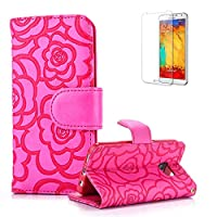 For Samsung Galaxy S6 Case Cover [with Free Screen Protector], Funyye Elegant Premium Folio PU Leather Wallet Magnetic Flip Cover with [snap fastener] and [Credit Card Holder Slots] Stand Function Book Type Stylish Rose Printting Designs Full Protection Holster Case Cover Skin Shell for Samsung Gala